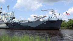 USS North Carolina docked in Wilmington shore 4k Stock Footage
