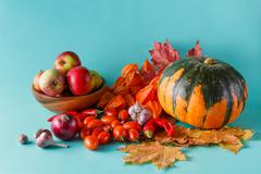 Colored pumpkin and fapples on aquamarine shadowless background Stock Photos
