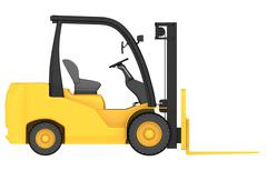 render 3d of forklift truck in front projection - stock illustration