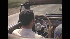 Vintage 16mm film, 1941, driving POV back seat and looking over the prairie Stock Footage
