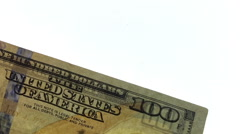 100 Dollar bill with back light to show watermarks Stock Footage