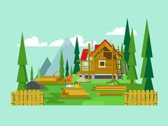 Cottage construction - stock illustration