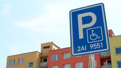 Traffic sign parking - reserved for specific car with handicapped person Stock Footage