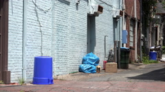 Street alley behind stores with trash 4k Stock Footage