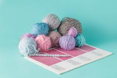 Leisure  concept. Colored clew of yarn for knitting - stock photo