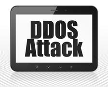 Safety concept: Tablet Pc Computer with DDOS Attack on display - stock illustration