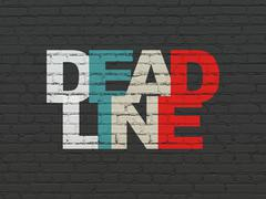 Business concept: Deadline on wall background - stock illustration