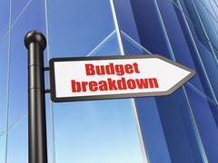 Business concept: sign Budget Breakdown on Building background - stock illustration