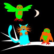 Psychedelic scary owls and cat under waxing moon - stock illustration