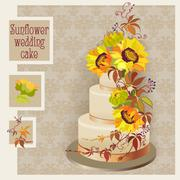 wedding cake design with sunflower and wild grapevine - stock illustration