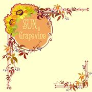 Decorative label with sunflower and grape - stock illustration