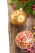 Christmas balls on wooden background border Stock Photos