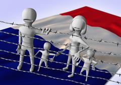 migration to europe concept - crisis in France - stock illustration