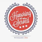 Honoring all who served lettering Stock Illustration