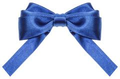 Stock Photo of symmetric blue ribbon bow with square cut ends