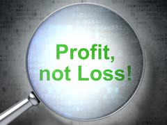 Stock Illustration of Business concept: Profit, Not Loss! with optical glass