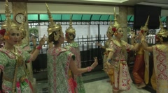 Traditional Music and Thai Dancers at Erawan Shrine Stock Footage
