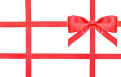 red satin bow knot and ribbons on white - set 34 - stock photo