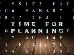 Timeline concept: Time for Planning in grunge dark room Stock Illustration