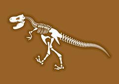 Stock Illustration of Dinosaur skeleton. Ancient animal bones in ground. Fossil Tyrannosaurus. arch