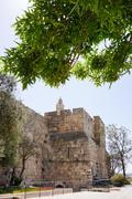 Tower of david and Jerusalem walls - stock photo