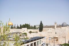 Wailing wall and temple mount Stock Photos