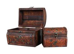 Open and closed vintage wooden chests isolated with clipping path - stock photo