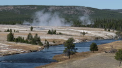 Geysers and River, Yellowstone Stock Footage