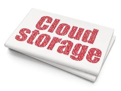 Stock Illustration of Cloud computing concept: Cloud Storage on Blank Newspaper background