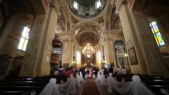 Wedding in the Corpus Christi Church, Nesvizh, Belarus. Stock Footage