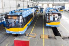 Trolley cars in a depot - stock photo