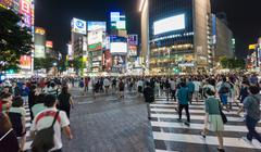 Shibuya crowd and illuminated signs Kuvituskuvat