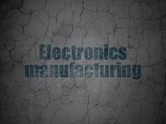 Industry concept: Electronics Manufacturing on grunge wall background - stock illustration
