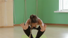 Stock Video Footage of Yoga girl in variation sets
