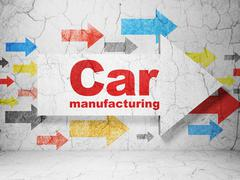 Manufacuring concept: arrow with Car Manufacturing on grunge wall background Piirros
