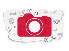 Vacation concept: Photo Camera on Torn Paper background Stock Illustration