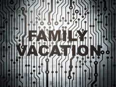 Travel concept: circuit board with Family Vacation - stock illustration