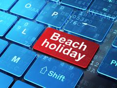 Travel concept: Beach Holiday on computer keyboard background Stock Illustration