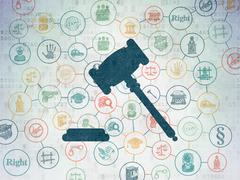 Stock Illustration of Law concept: Gavel on Digital Paper background