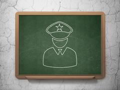 Law concept: Police on chalkboard background - stock illustration