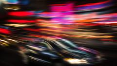 Illumination and night lights of New York City Stock Photos