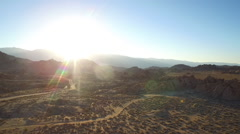 An aerial sunset shot over the Alabama Hills outside Lone Pine California with - stock footage