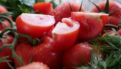 Chopped Tomato Slices Falling Down Stock Footage