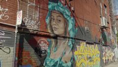 Beautiful girl graffiti art in the city. 4K UHD. Stock Footage