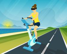 Woman is riding exercise bike through using head-mounted device for virtual Stock Illustration