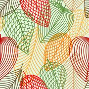 Outline autumnal leaves seamless pattern Stock Illustration