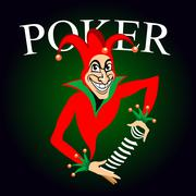 Poker emblem with joker and playing cards Piirros