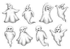 Halloween flying monsters and ghosts Stock Illustration