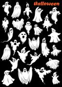 White flying monsters, ghouls and ghosts - stock illustration
