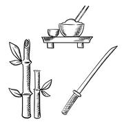 Rice, sake, bamboo and samurai katana - stock illustration